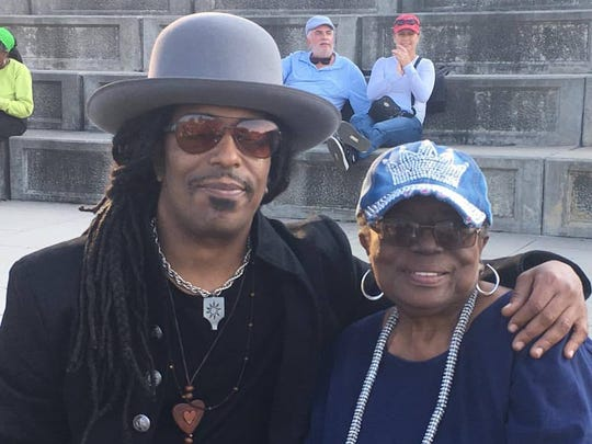 Veteran New Brunswick rocker Sharief Hobley once again will perform at Hub City Sounds: ROCK New Brunswick on Sept. 8 in Boyd Park. He is pictured at last year's festival with his mother, Mary.