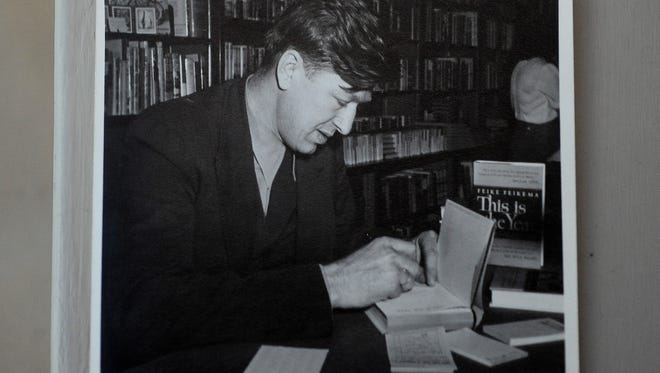 A vintage photograph of Frederick Manfred at the Center for Western Studies at Augustana University.