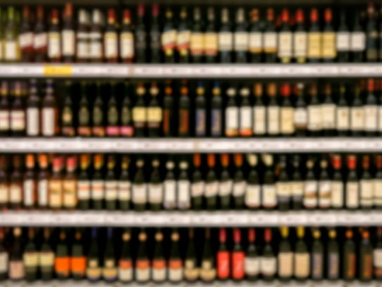 Wine shelves in a store.