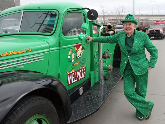 Leo Ward of Des Moines (south side) is ready for another year of walking with the entry from Melrose (Iowa's Little Ireland) before the St. Patrick's Day parade hosted by the Friendly Sons of St. Patrick of Central Iowa in downtown Des Moines.