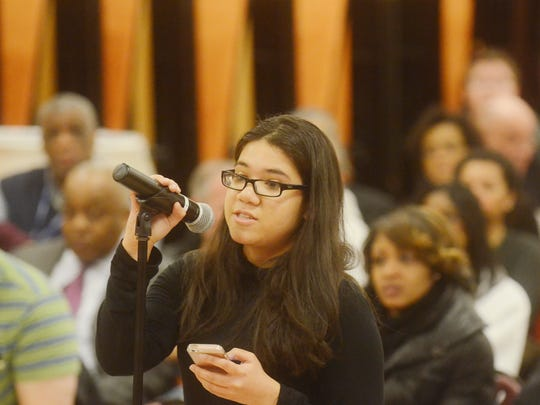 Paula Giraldo reading a statement expressing concern over her grades not being recorded in time for college applications during the Englewood school board meeting Thursday night. Feb 16, 2017.
