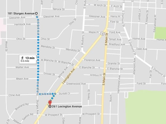 The two businesses robbed Sunday evening, the Recovery Room and the Lexington Avenue Drive Thru, are located 0.6 miles apart.