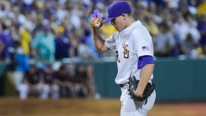 Zack Hess on the mound as Mississippi State takes on LSU in the NCAA Super Regional at Alex Box Stadium in Baton Rouge, LA.- Saturday, June 10, 2017.