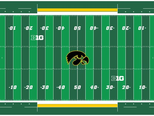 An artist's rendering of what the Tiger Hawk at midfield of Kinnick Stadium's field will look like.
