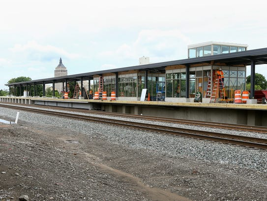 The tracks and platform at the new Rochester train