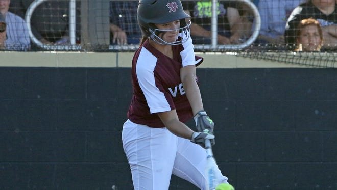 Vernon senior Audrey Graf has developed more power this season and leads the Lady Lions in doubles and RBIs in the postseason.