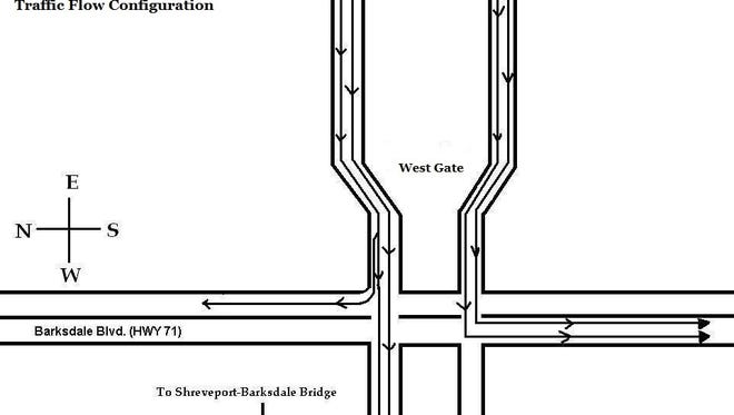 A reference map showing the contra-flow configuration at the Shreveport Gate.