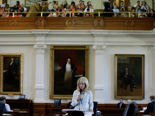 Sen. Wendy Davis, D-Fort Worth, speaks during her filibuster