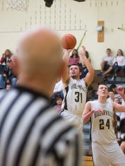 Biglerville's Noah Ayers (31) shoots a jumper during
