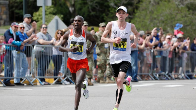Geoffrey Kirui of Kenya and Galen Rupp of the USA.