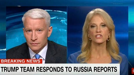 """This screen image from CNN shows anchor Anderson Cooper, left, and Trump adviser Kellyanne Conway during their 25-minute televised confrontation on CNN Thursday, Jan. 11, 2017, after the network reported on Tuesday that national intelligence officials had informed the president-elect that the Russians had collected a dossier on his behavior. CNN did not specifically detail what that behavior was because it couldn't vouch for its veracity. But it was CNN that gave BuzzFeed the cover to do so, Conway said. """"You got the party started,"""" she said.  (CNN via AP)"""