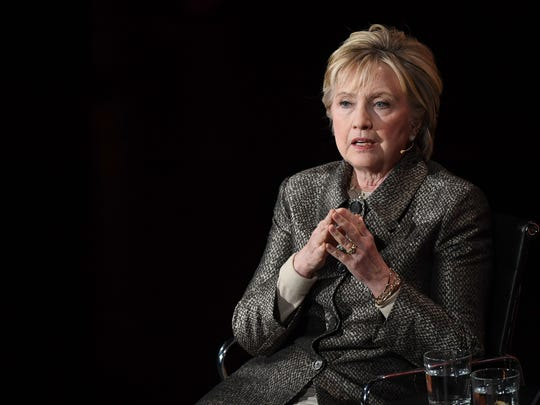 This file photo taken on April 06, 2017 shows former US Secretary of State Hillary Clinton speaking at the eighth annual Women in the World Summit at the Lincoln Center for the Performing Arts in New York City.