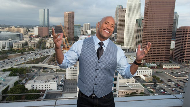 'San Andreas' star Dwayne Johnson photographed on the rooftop pool deck at the Ritz-Carlton in Los Angeles.
