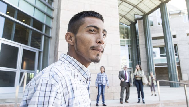 Diego Roman Elena Rodriguez, the brother of 16-year-old Jose Antonio Elena Rodriguez who was shot to death by the Border Patrol, arrives at the federal courthouse in in Tucson, Ariz. on Oct. 10, 2015. The Border Patrol agent in the shooting, Lonnie Ray Swartz, is scheduled to be arraigned on a charge of second-degree murder.