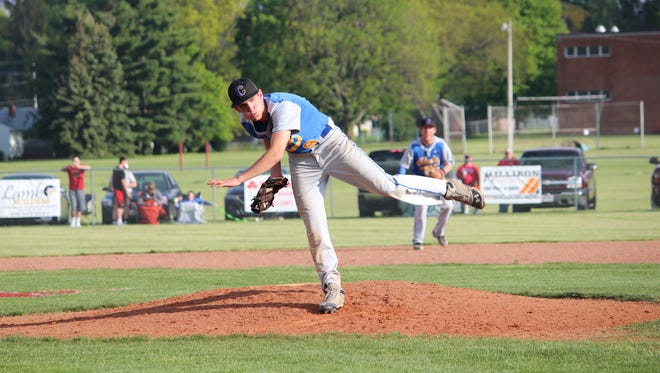 Robbie Webb throws a pitch in Clyde's victory over Shelby.