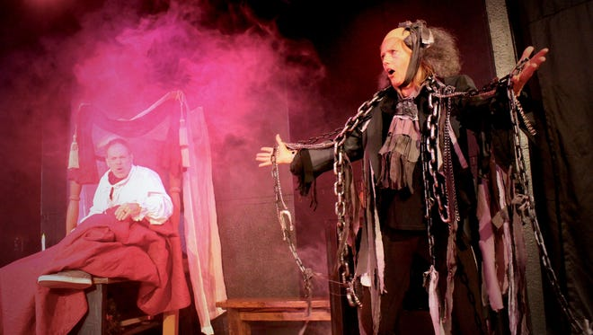 """Real-life husband and wife Trey and Laura Smith performed all the roles in the two-person play """"A Christmas Carol... More or Less"""" at Be Theatre."""