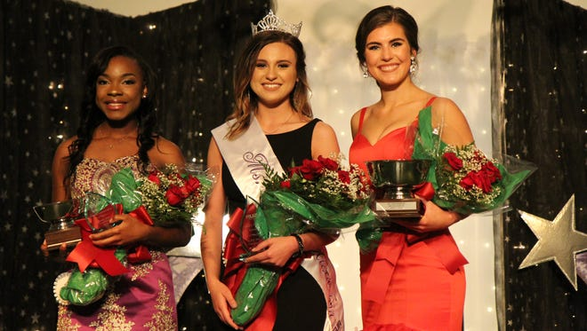(Left to right) Louisiana State University of Alexandria students Kenyada Smith, Madison Fruge' and Kelsie Artigue competed in the 58th annual Ms. LSUA pageant held Saturday, April 7. Fruge' was crowned Ms. LSUA, Artigue was first runner up and Smith was second runner up.