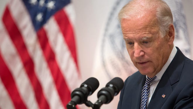 Vice President Joe Biden speaks during a news conference at the Office of the Chief Medical Examiner, Thursday, Sept. 10, 2015, in New York. During the event, Biden, U.S. Attorney General Loretta Lynch, Manhattan District Attorney Cyrus Vance and actress Mariska Hargitay announced almost $80 million in grants to help eliminate a vast nationwide backlog of rape kits.