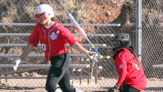 Jadin Placencio has done a good job at the plate for the Lady Indians this year batting .583 with five RBIs. Above, she gets some work at the plate in Tuesday evening.