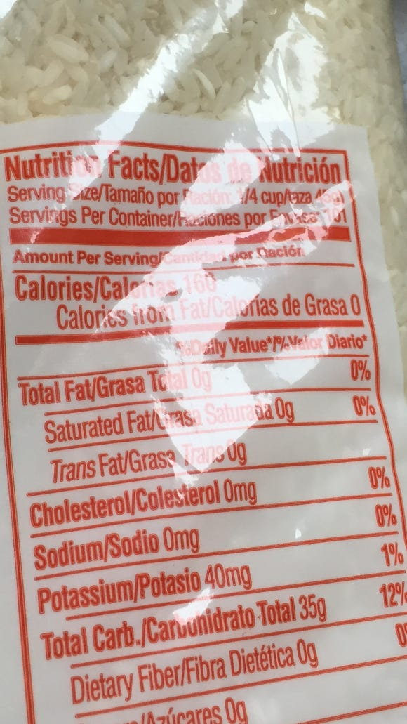 This 10-pound bag of rice has 101 quarter-cup servings. That'll last a while.