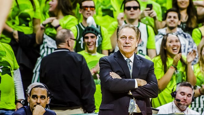 MSU Men's Basketball Head Coach Tom Izzo gets emotional as time expires in the Spartans' win over Maryland Saturday January 23, 2016 in East Lansing. The win halted a 3 game skid that threatened the Spartans' Big Ten season and NCAA tournament chances. KEVIN W. FOWLER PHOTO