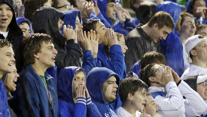 St. Xavier's student section cheers on the Bombers against La Salle on Oct. 10.