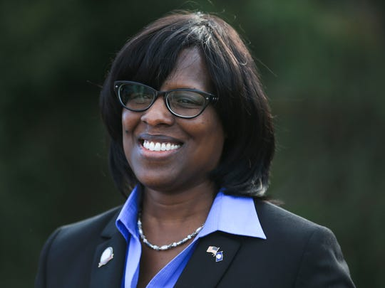 "Kentucky Lt. Gov Jenean Hampton on the bridges project: ""This is a great day for Kentucky, for Indiana and especially for the people who travel back and forth between the two states,"" she said. ""This project means a safer and faster trip for thousands of drivers every day, and it makes it easier for Kentucky and Indiana companies to do business."" Pictured at the celebration for the substantial completion Friday afternoon of the Downtown Crossing portion of the Ohio River Bridges Project. Nov. 18, 2016"