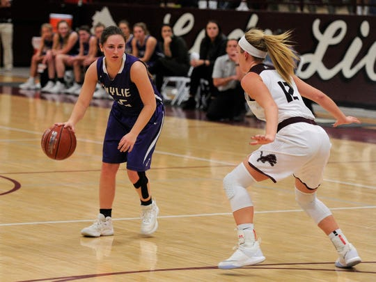 Wylie's Lauren Fulenwider (25) is guarded by Brownwood's Sage Cupps (12) on Tuesday, Jan. 23, 2018. The Lady Bulldogs won 50-44.