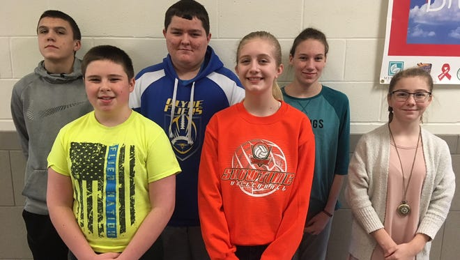 McPherson Middle School in Clyde has named its February Students of the Month: Front row, from left, are Garett Hartshorn, Abby Cahill, and Chloe Rex. In the back row, from left, are Cade Carroll, Jordan Lee, and Felicity Hahl