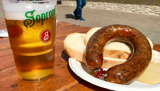 Goose liver sausage in Budapest.