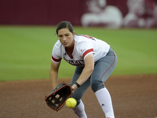 UL first baseman Kelsey Vincent made several sparkling defensive plays in game two of the Super Regionals on Friday in Norman, Okla.