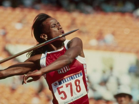 Jackie Joyner-Kersee throws a javelin during the1988 Seoul Olympics.