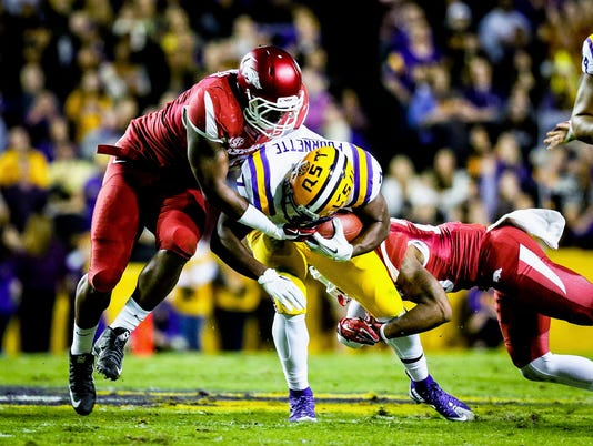 in the football game between LSU and Arkansas at Tiger Stadium in Baton Rouge, Louisiana on November 14, 2015.