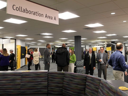 Guests attend an opening ceremony for the new collaborative space in the University of Iowa College of Education in the Lindquist Center on Thursday, Feb. 4, 2016. More renovations are in store for the building in 2020. Construction crew are expected to start renovating the first and second floors in March of 2020.