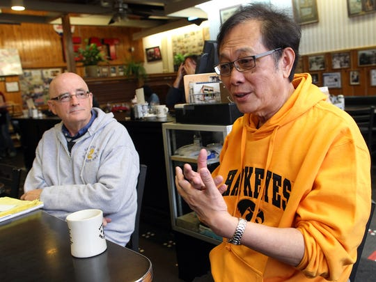 Michael Lee, soon-to-be owner of Hamburg Inn No. 2, sits down with current owner Dave Panther on Tuesday, March 1, 2016.