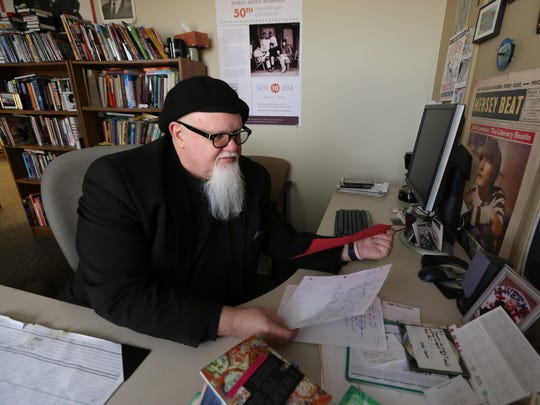 M.L. Liebler at his office in Detroit. Liebler, a poet and Wayne State University faculty member in the Department of English, has published a new volume of poetry. Tuesday, April 19, 2016