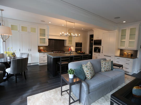 The great room blends the kitchen and a family room.
