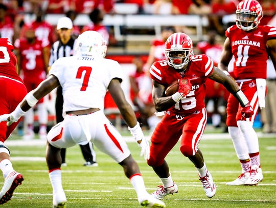 Louisiana-Lafayette running back Elijah Mcguire is