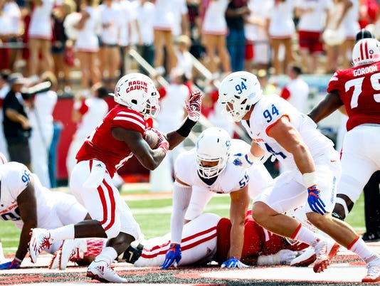 in the football game between ULL and Boise State at Cajun Field in Lafayette, Louisiana on September 03, 2016.