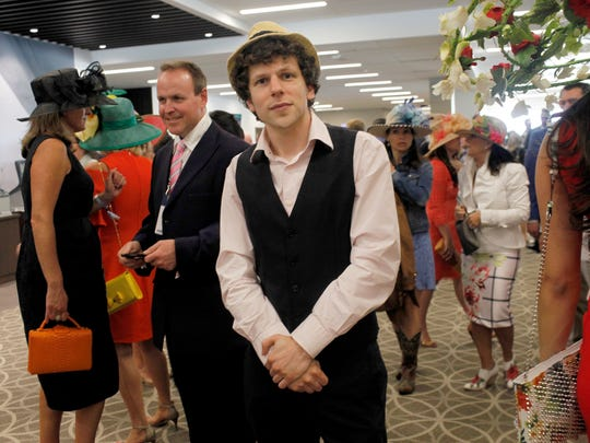 Actor Jesse Eisenberg poses for a photo at the 143rd Kentucky Derby. May 6, 2017