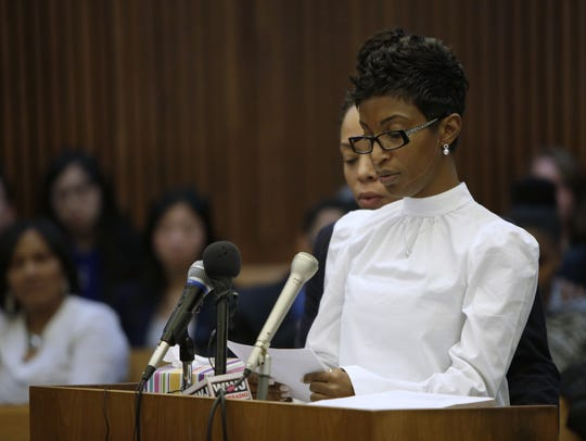 Faith Green gives her victim impact speech during the
