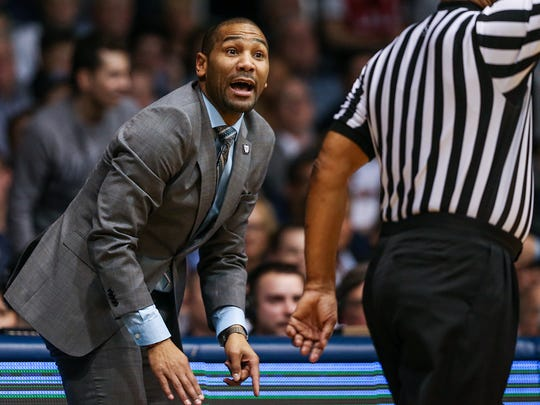 Butler Bulldogs head coach LaVall Jordan disputes a call with the referee during first half action between Butler and Creighton at Hinkle Fieldhouse in Indianapolis, Tuesday, Feb. 20, 2018.