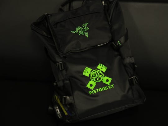 The Pistons NBA 2K team logo on a back pack in the