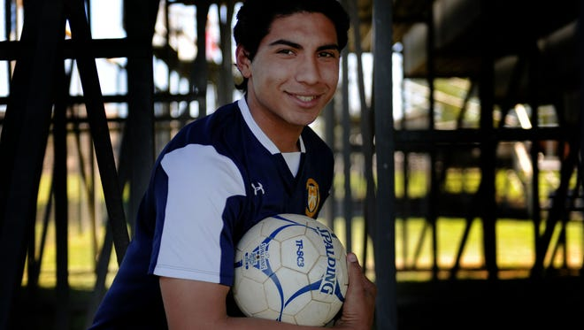 """Santa Clara High junior Isaac Carbajal """"just has natural ability that separates him from most other guys,"""" says Saints head coach Stephen Raab."""