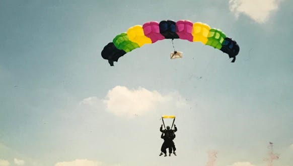 Abbey Doyle skydiving in 2001.