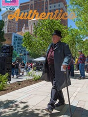 This photo of a man in a period costume in San Jacinto Plaza is one of many  being used for the Downtown Authentico markting campaign.