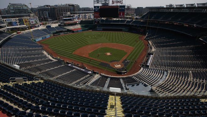 An empty Nationals Stadium is seen during a Washington Nationals' baseball training camp workout, Sunday, July 5, 2020, in Washington.