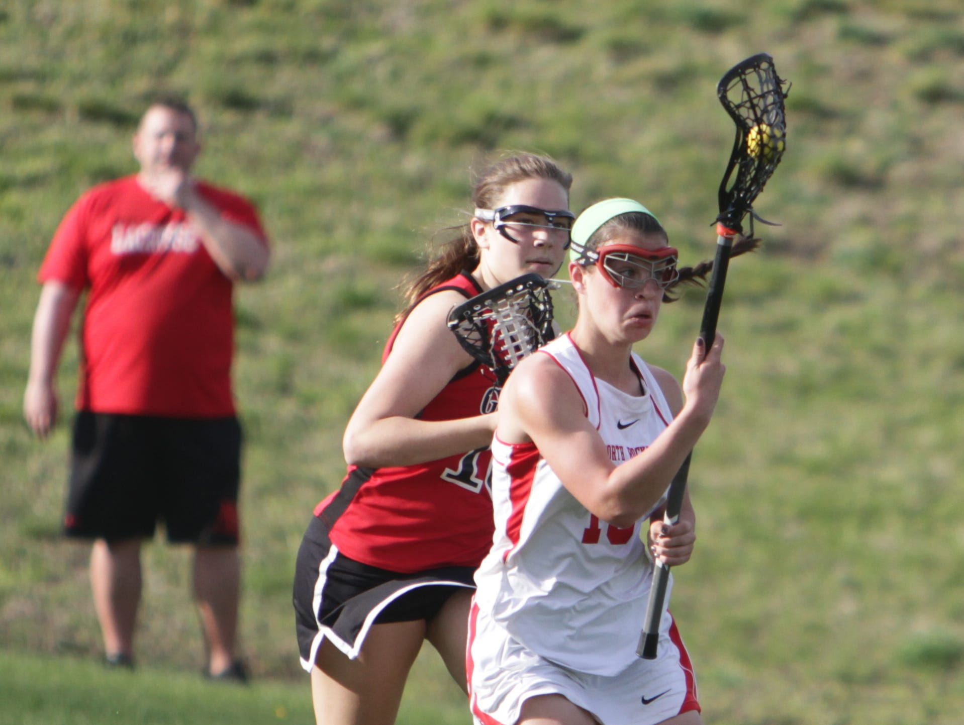 North Rockland's Kerri Gutenberger controls the ball during a Section 1 girls lacrosse game between North Rockland and Rye at North Rockland High School on Monday, April 18th, 2016. North Rockland won 10-5.