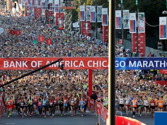 The scene at the start line of the 2013 Chicago Marathon,