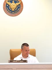 Maywood Mayor Adrian Febre at Saturday's special council